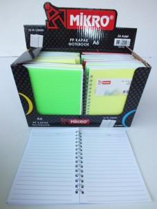 Mikro A6 72 yp. PP Kapak Çizgili Notebook (pk 24'lü) pk 24,00_450x600