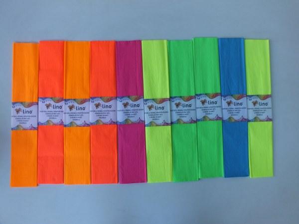 Lino PA-014F fosforlu krapon kağıdı 50x200cm 6 renk 10 lu pk 30,00_600x450