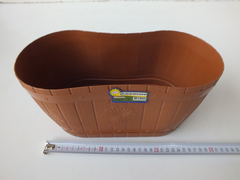Hak pls naturel küçük ahşap desen oval balkon saksı  4,50